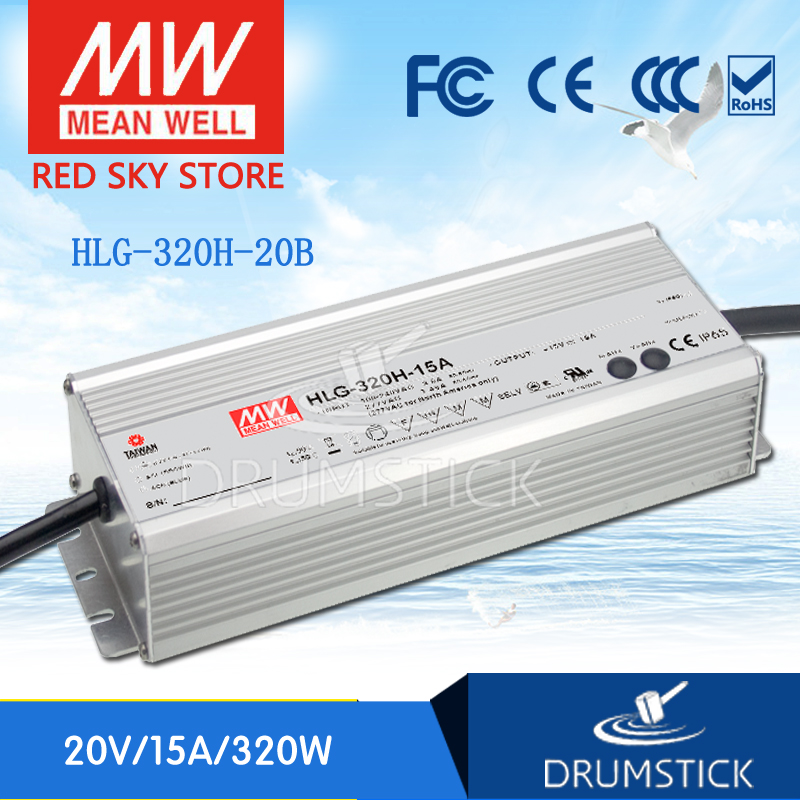 Advantages MEAN WELL HLG-320H-20B 20V 15A meanwell HLG-320H 20V 300W Single Output LED Driver Power Supply B type genuine mean well hlg 320h 36b 36v 8 9a hlg 320h 36v 320 4w single output led driver power supply b type
