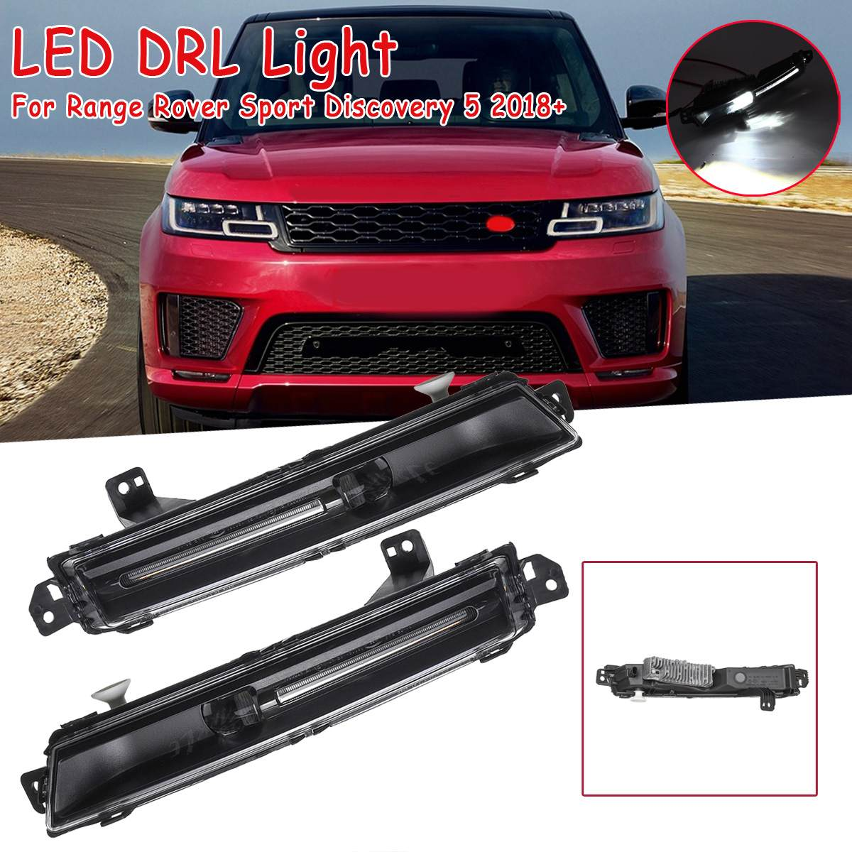 US $96 91 37% OFF 12V Left/Right Car Front Bumper LED DRL Fog Lights Lamp  Replacement For Range Rover Sport Discovery 5 2018+ LR098343/LR098340-in  Car