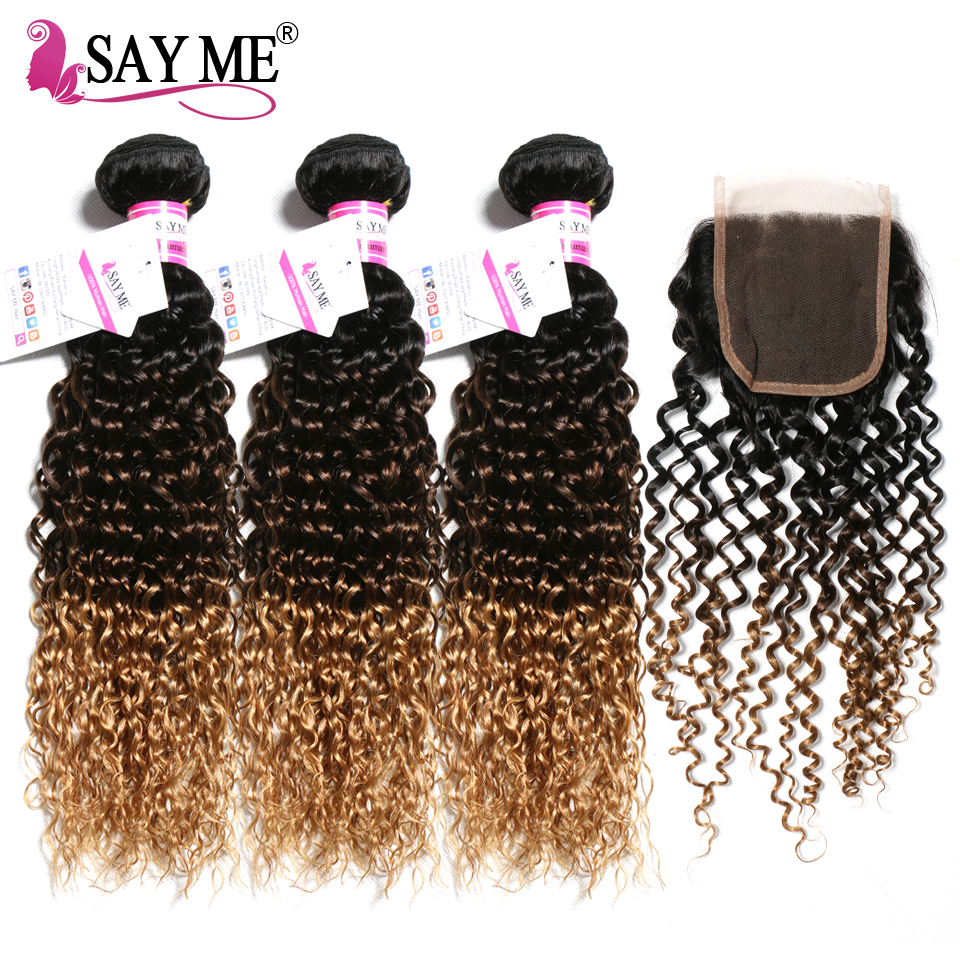 Kinky Curly Weave Bundles With Closure 3 Bundles Ombre Brazilian Hair With Closure Remy Blonde Human