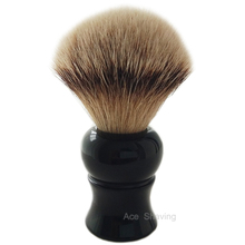 Silvertip Badger Hair Shaving Soap Brush Black Resin Handle Knot Size 22mm Man Face Beard Clean