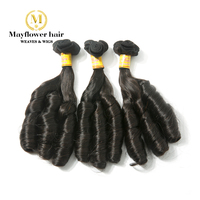MFH 3pcs Double drawn Remy Hair extension for UK & Nigeria Natural color Romance curl bouncy texture 300g for one full head