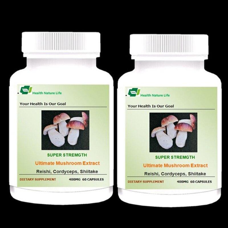 Ultimate Mushroom Supplement Reishi Cordyceps Maitake Shiitake Chaga 2 Bottles