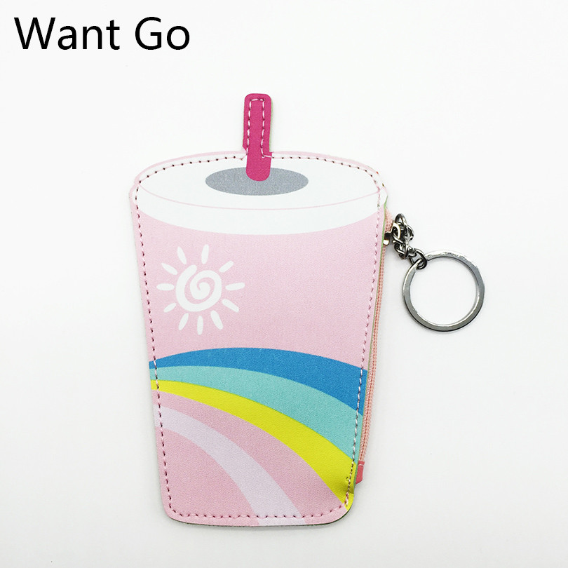 Want Go Fashion Cartoon Pu Leather Ladies Coin Purse Cute Kids Coin Pouch Zipper Mini Pouch Small Purse Coin Wallet Storage Bag