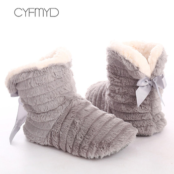 Women Fur Slippers Winter Butterfly Knot Plush Keep Warm Indoor women Rubber Cozy Home Shoes For Girls Antiskid