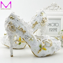 2016 Latest Beautiful White Lace Bridal Dress Shoes Women Pumps Fashion Handmade Bridesmaid High Heel Adult Ceremony Party Shoes