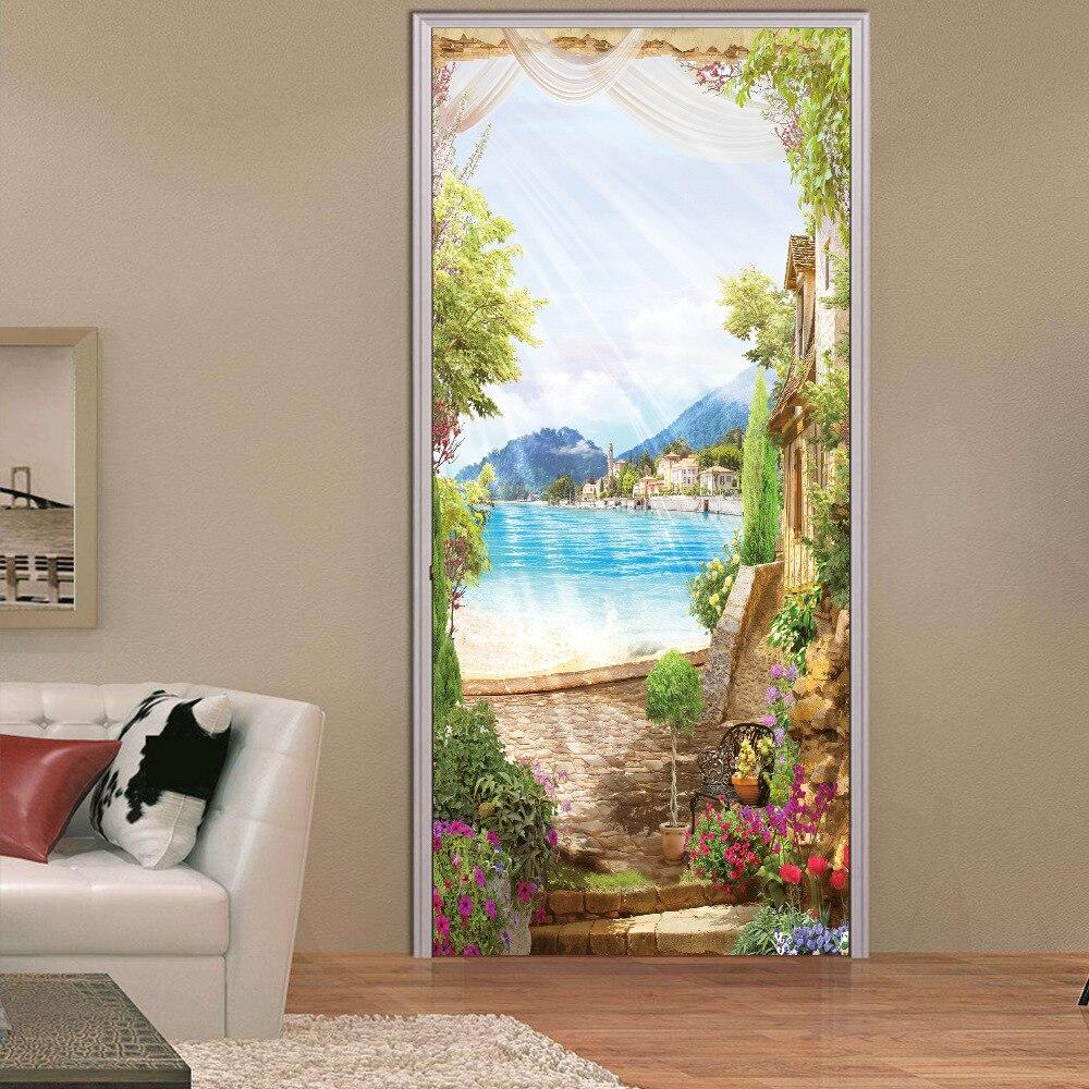 Romantic Sunny Day Beautiful Bonsai  Door Stickers For Bedroom Livingroom Door Renovation Mural Sticker Decorative Decal For Kid