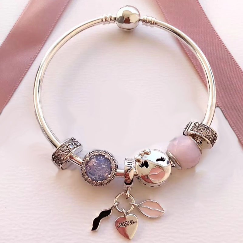 Lovely Make Up Attractive Creative Handmade Good Quality Jewelry 925 Sterling Silver 925 Sterling Silver Bangle popular good quality gift silver jewelry bangle pink love heart famous crystals 925 pure silver bangle