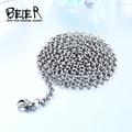 Beier 3/3. 5/4mm acero inoxidable collar giro collar de cadena de moda del muchacho/hombre de color plata bn1044