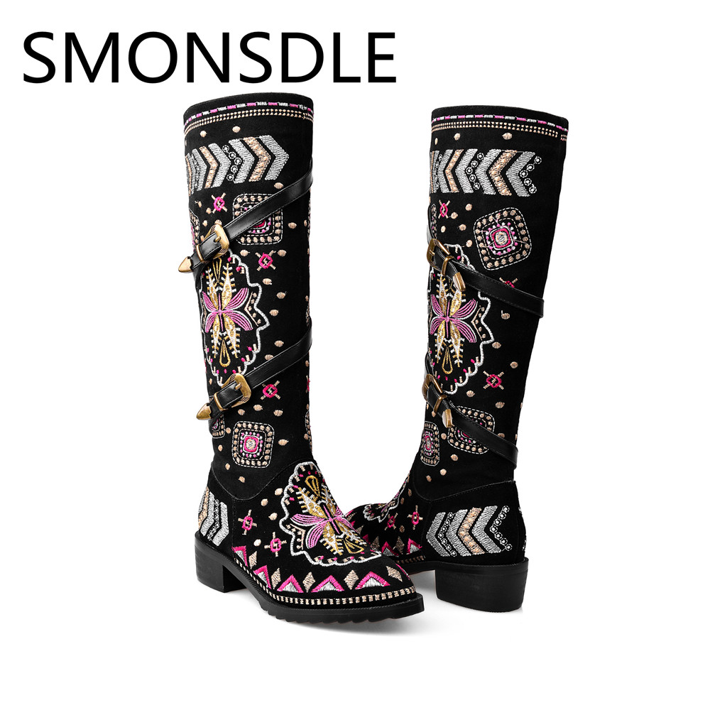 SMONSDLE Black Embroider Knee High Boots Shoes Woman Genuine Leather Round Toe Bukle Side Zip Low Heel Women Autumn Winter Boots стоимость