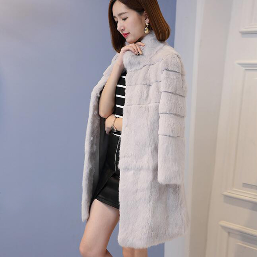 2019 New Genuine Natural Real Whole Skin Rabbit Fur Coat Women Long Fashion Jacket Winter Outwear Overcoat Free Shipping Wsr343