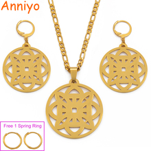 Anniyo Micronesia Pendant Earrings Beads Necklaces Jewelry set for Women Gold Color Hawaii Marshall Pohnpei Bilum Gifts #078521P anniyo big size marshall jewelry set pendant ball beads necklaces earrings for women gold color ethnic jewellery gifts 123406