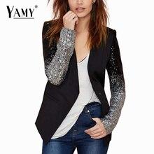 2014 Fashion winter autumn women blazer feminino leather collar v neck sequined blaser feminino women blazers
