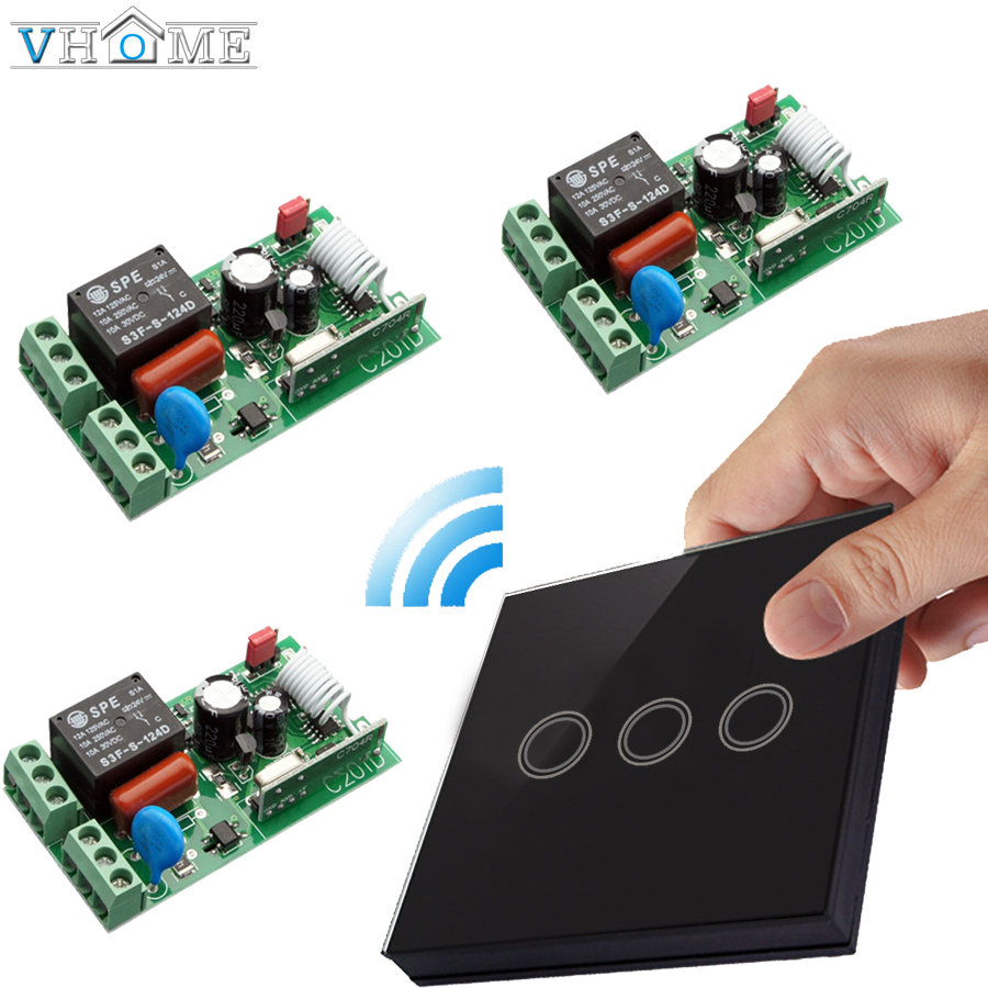 Vhome Wireless remote control touch switch panel RF433MHZ&AC170-240V 5A Wireless receiver for Living room wall lamp touch switch black color 2gang touch light switch with wireless remote control rf 433mhz glass panel smart wall touch switch uk type