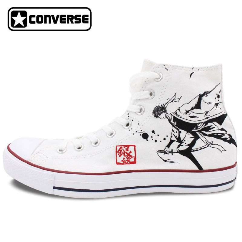 White Sneakers All Star Converse Men Women Shoes Anime Gintama Design Hand Painted Shoes Boys Girls High Top Canvas Sneakers pci e express 1x to 3 port 1x switch multiplier hub riser card usb cable 1pc tj