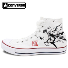 White Sneakers All Star Converse Men Women Shoes Anime Gintama Design Hand Painted Shoes Boys Girls High Top Canvas Sneakers