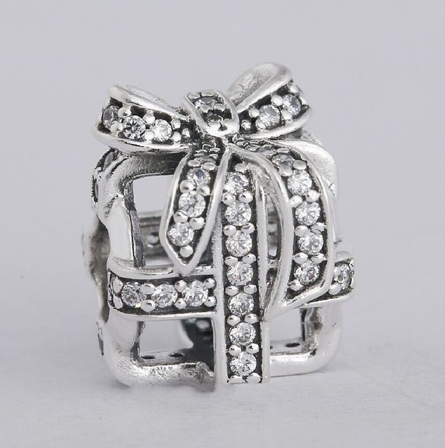 8ae2684a32 Authentic 925 Sterling Silver Clear CZ Pave Bow Openwork Christmas Gift Box  Charms Fit Original Pandora Charms Bracelet jewelry