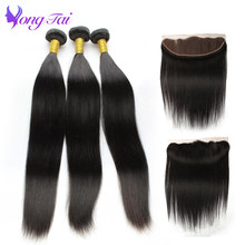 Yongtai Hair Malaysian Straight Lace frontal 4Pcs Remy Human Hair Bundles With Lace Frontal Closure 3Bundles Free Shipping(China)