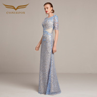 Coniefox 31208 2 Elegant Long Evening Dresses 2016 Beading Satin Wedding Party Celebrity Oscar Red Carpet