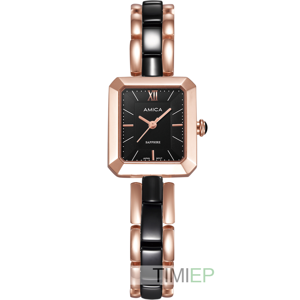 Amica femmes d-céramique Quartz saphir verre en acier inoxydable montres bracelet A-4-1 cadran de coquille
