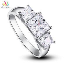 Павлин звезда три-камни твердые 925 пробы серебро Свадьба юбилей обручальное кольцо ювелирные изделия CFR8008