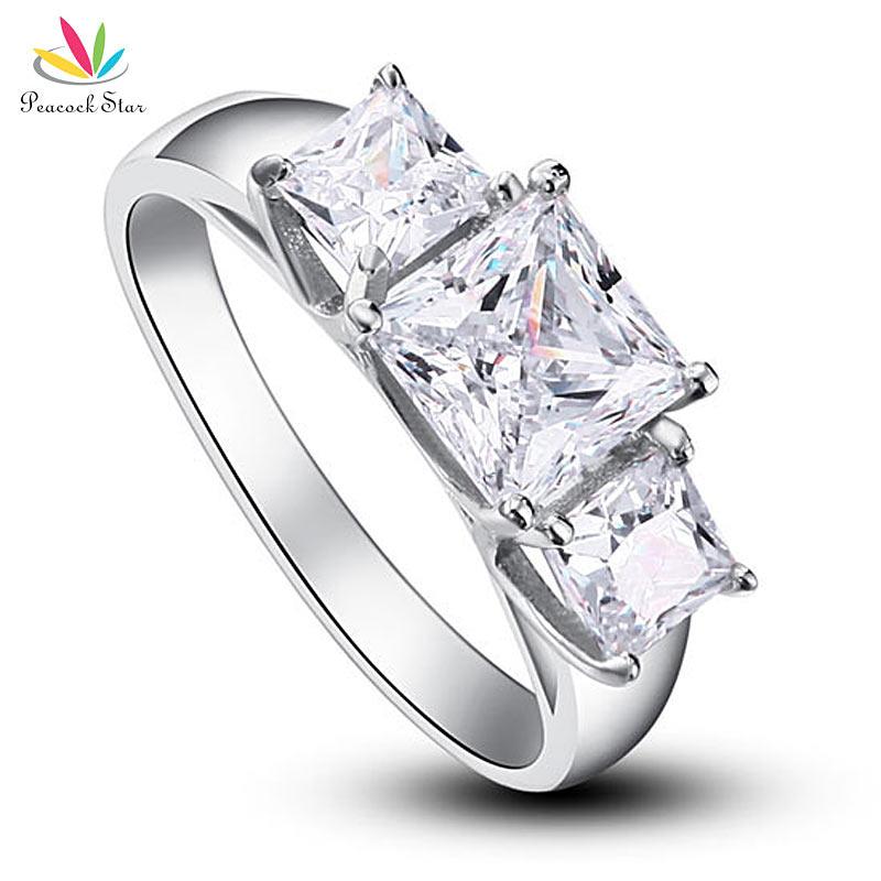 שלושה-אבנים טווס כוכב מוצק 925 כסף חתונת יום נישואים טבעת אירוסין תכשיטי CFR8008