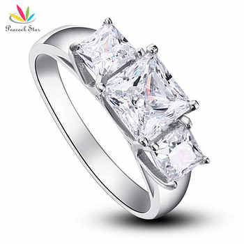 Peacock Star Three-Stones Solid 925 Sterling Silver Wedding Anniversary Engagement Ring Jewelry CFR8008 - DISCOUNT ITEM  5 OFF Jewelry & Accessories