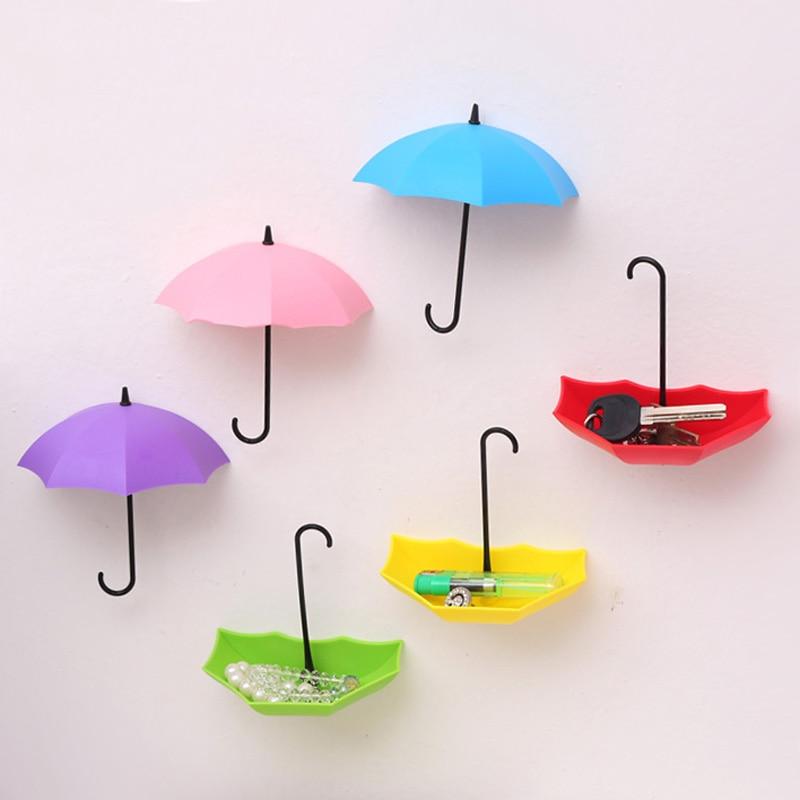 3PCs Creative Umbrella Shape Wall Mount Hook Key Holder Storage Stand Hanging Hooks For Bathroom Kitchen Door