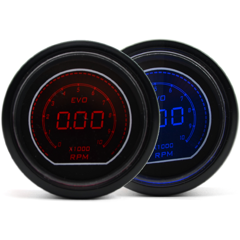 7 Color 52MM Tachometer Gauge EVO RPM Meter Digital Display Instrument Rpm Gauge