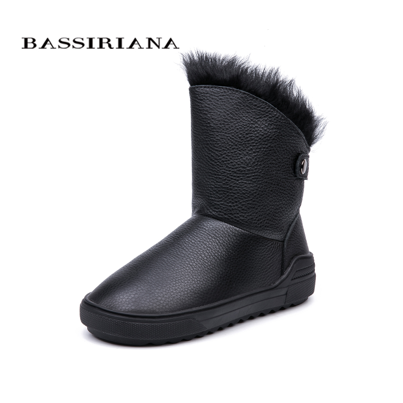 BASSIRIANA 2018 winter new natural leather ladies snow boots fashion warm women's boots color black gray free shipping