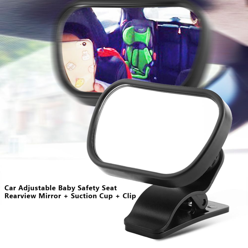 1Pc Car Baby Rear View Mirror Baby Child Back Seat Rear View Safety Mirror Car-Styling Adjustable With Suction Cup Clip Black