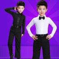 Hot Dance Men's Latin Top Boys Dance Leotard Costumes Modern Latin Ballroom Dance Wear with Zipper for 100 185cm White,Black