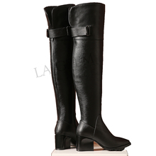 Knee-Boots Chunky-Heels Botines Large-Size Winter Genuine-Leather Women Zip LAIGZEM Over