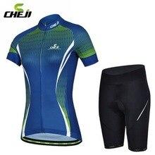 Mujeres CHEJI Ciclismo Jersey Tops + Bicyclie Bicicleta Shorts Con Acolchado De Gel Conjunto Azul Del Desgaste Del Verano