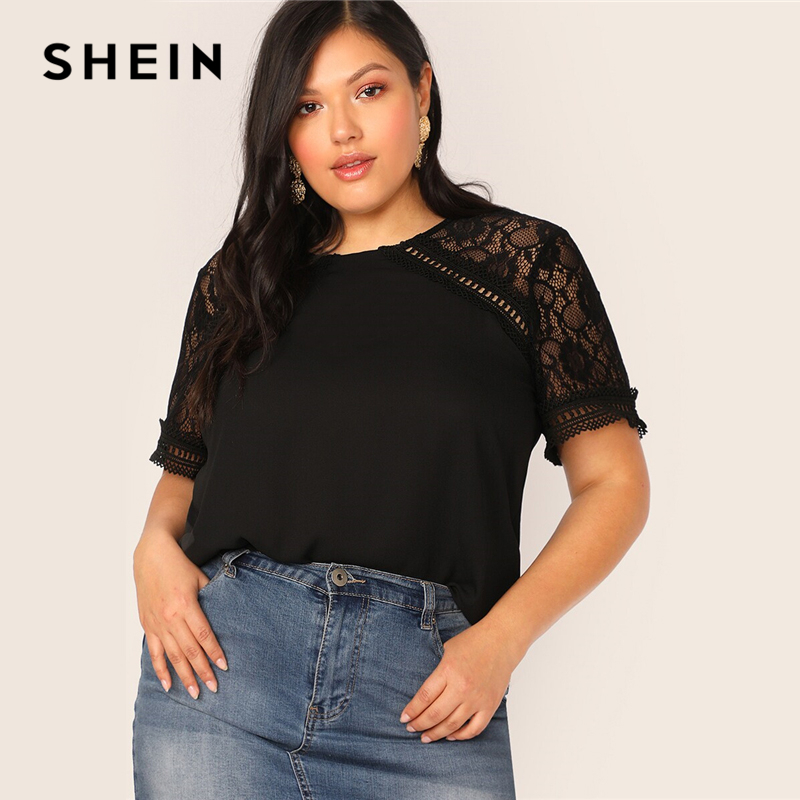 SHEIN Plus Size Black Lace Insert Raglan Sleeve Top Blouse Women Keyhole Back Summer Elegant Solid O Neck Sheer Plus Blouses 1