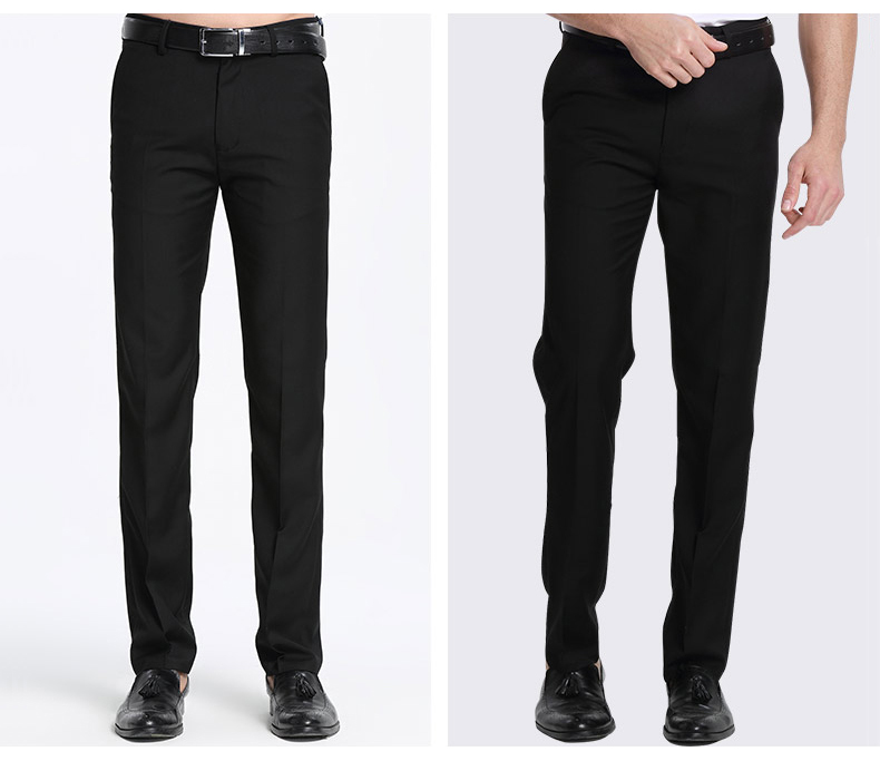 Men's Black Suit Separate Pant Flat-Front Straight Slim-fit Business Straight Male Trousers Thin Office Wear Solid Dress Pants