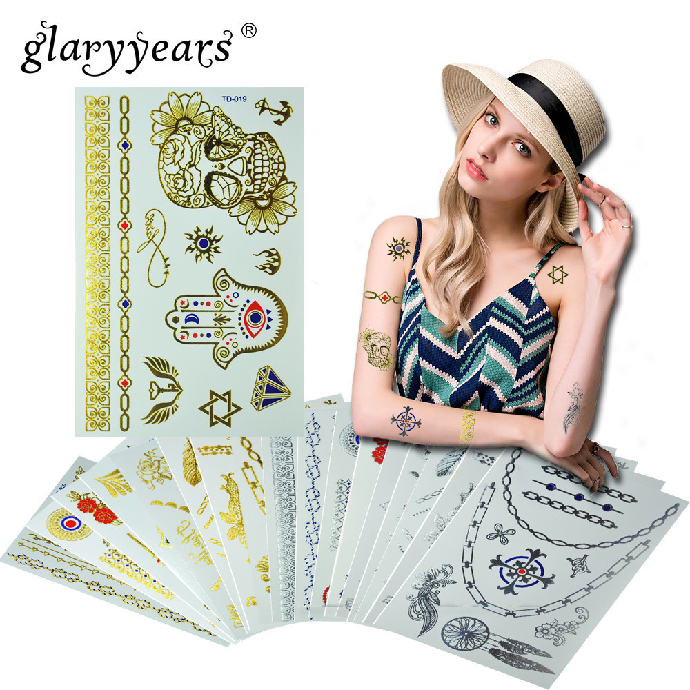 6 Sheets Wrist Body Art Henna Tattoo Stencil Flower: Glaryyears 1 Sheet Temporary Tattoo Sticker Metallic Fake