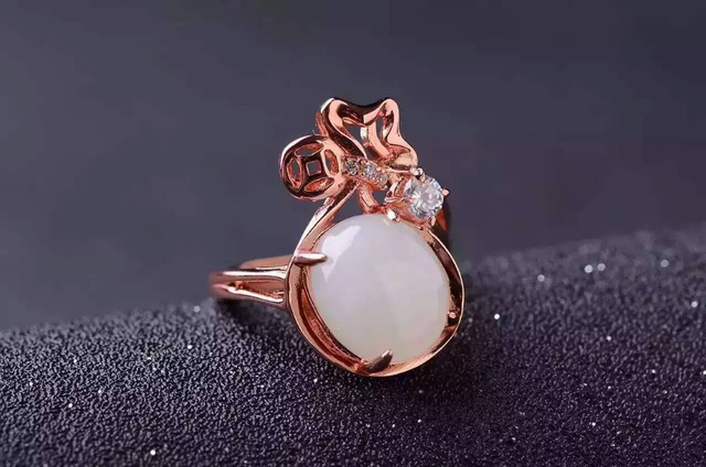 Natural white jade gem Ring Natural gemstone ring 925 sterling silver trendy elegant  Lucky bag women girl party fine Jewelry