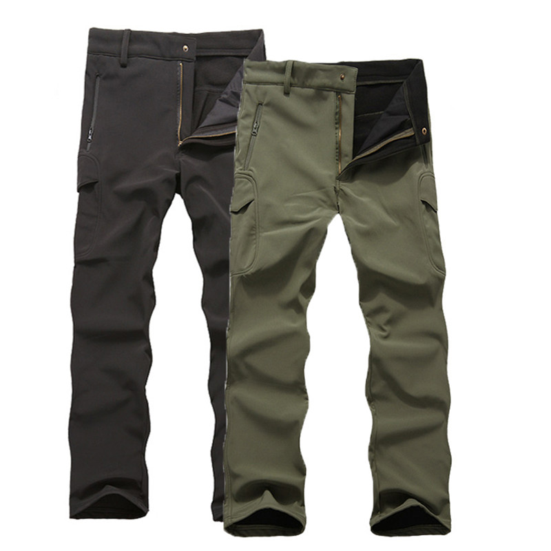 TAD Shark Skin Waterproof Windproof Outdoor Hiking Climbing CS Camouflage Hunting Pants Men Fleece Trousers Military Army Pant outdoor pants hiking climbing warm fleece waterproof windproof trousers man hot brand medium thickness pants men trousers male
