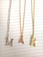 2016 New Arrival Rhodium Plating Alloy 26 Alphabet English Letters Necklaces Crystal Initial Charms Necklace