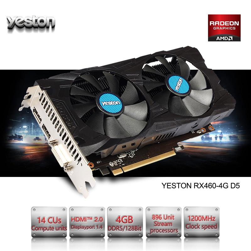 Yeston Radeon RX 460 GPU 4GB GDDR5 128 bit Gaming Desktop computer PC Video Graphics Cards support DVI/HDMI PCI-E X8 3.0