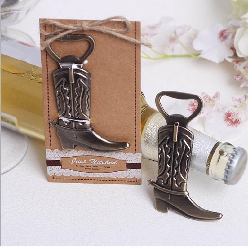 100pcs Creative Bottle Opener Hitched Cowboy Boot Western Birthday Bridal Wedding Favors And Gifts Party Cute Tool ZA1216