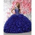 2016 Barato Azul Royal vestido de Baile Quinceanera Vestidos Para 15 Anos de Organza Frisado Vestido de Festa de Aniversário Vestido de Debutante