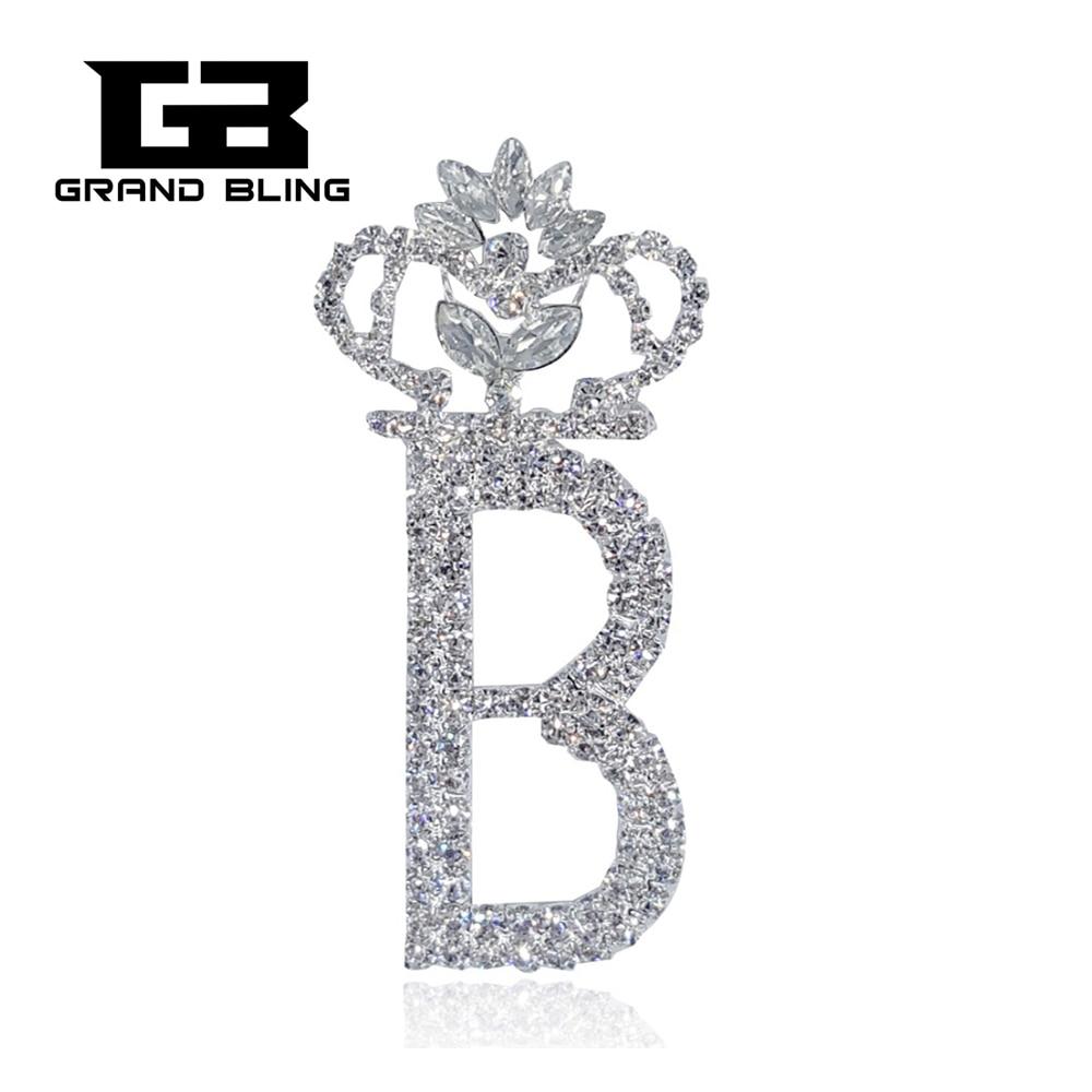 586a6b587a594 بلينغ واضح حجر الراين بروش تاج شكل كبيرة إلكتروني B بروش النساء والمجوهرات