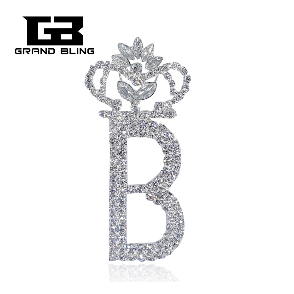 Bling clear rhinestone brooch crown shape big letter b for Bling jewelry coupon code