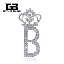 Bling Bling Clear Rhinestone Brooch Jewelry Big Size of Letter B with a Crown on Top   FREE SHIPPING unique bling bling party jewelry rhinestone brooch aged like fine wine pin free shipping
