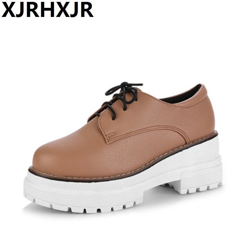XJRHXJR Women's Lace Up High Heels Women Pumps British Style Leather Shoes Thick Heel Round Toe Platform Casual Shoes for Girls nayiduyun women genuine leather wedge high heel pumps platform creepers round toe slip on casual shoes boots wedge sneakers
