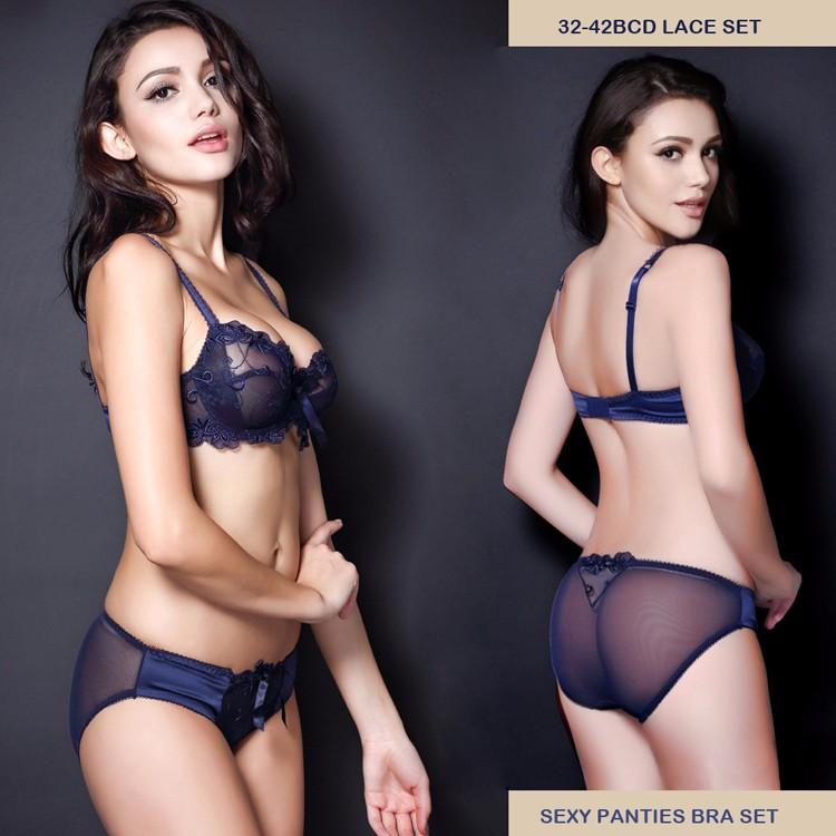 f283bbe9bd1 32 34 36 38 40 42 B C D Sexy Lace Panties Bra Set Transparent Women ...