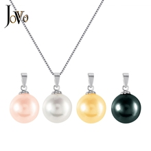 JOVO Sterling 925 Silver women necklace pearl Pendants with chain 4 color Fine Jewelry lady trendy female luxury gift