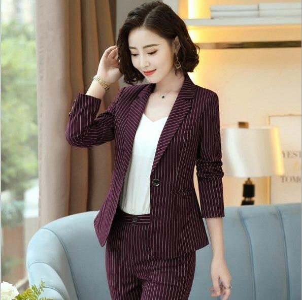 Women Black Red Blue Striped Pants Suits for Women 2 Two Piece Blazer Pant Set Womens Formal Trouser Suit Career Pantsuit 4XL