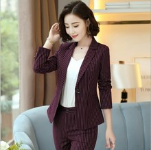 Women Black Red Blue Striped Pants Suits for Women 2 Two Piece Blazer Pant Set Womens Formal Trouser Suit Career Pantsuit 4XL